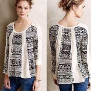Anthro Lilka Aztec Tribal Print Sweater